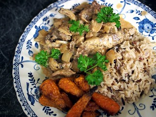 Wild mushroom venison stroganoff with wild rice and roasted Chaternay carrots