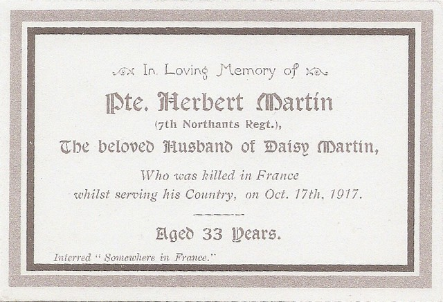 Death Card for Herbert Martin (1884-1917)