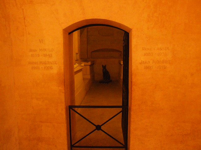 Site in the Panthéon's crypt of Malraux's and Moulin's tombs. (Photo from Flickr user B)