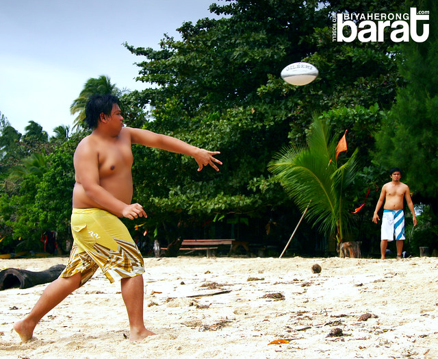 playing beach football in Cagbalete Island Quezon