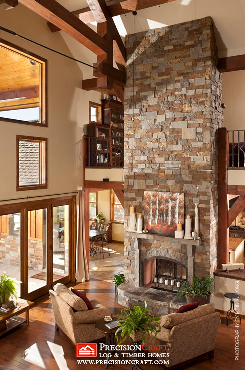 Beautiful Great Room View  Custom Timber Frame Home