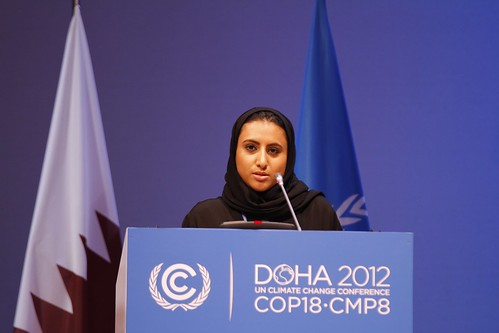 Noor Jassim al-Thani speaking at the High Level segment