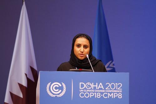 Noor Jassim al-Thani speaking at the High Level segment