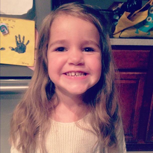 Ready for her preschool Thanksgiving performance.