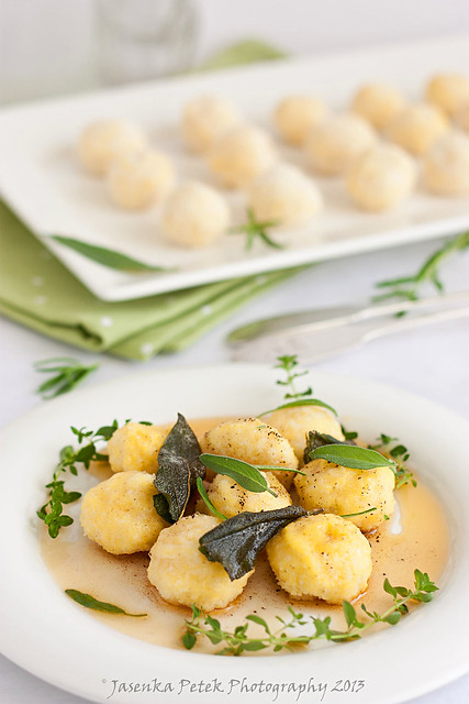 Ricotta gnudi with brown butter and fried sage