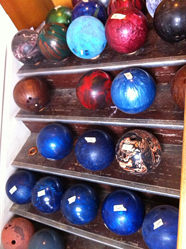 Bowling balls on stairs