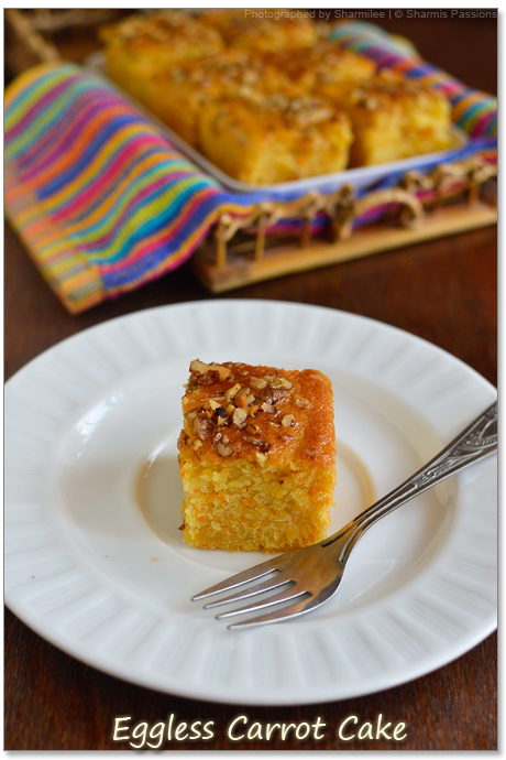 Carrot Cake Recipe Eggless With No Eggs Butter Sharmis Passions