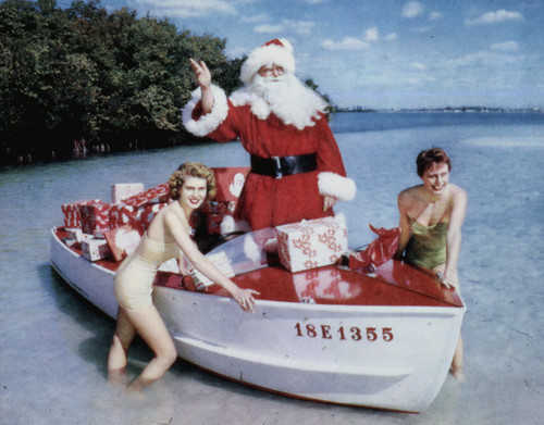 Santa Claus and models