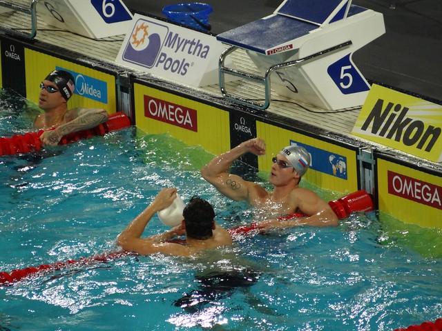 Morozov after winning the Istanbul 2012 World Champs 50 free