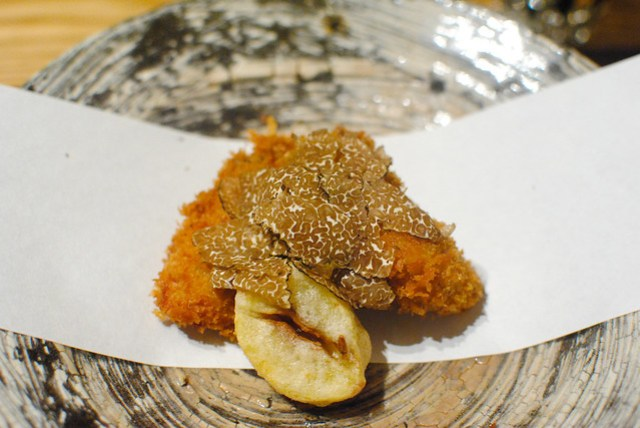 Oyster and Chestnut with Truffle Sauce