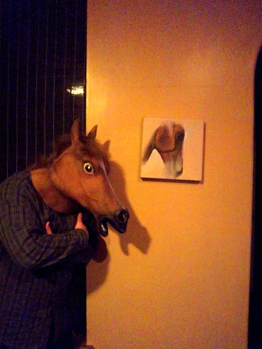 Matt and the horse head, and a wall photo of self?