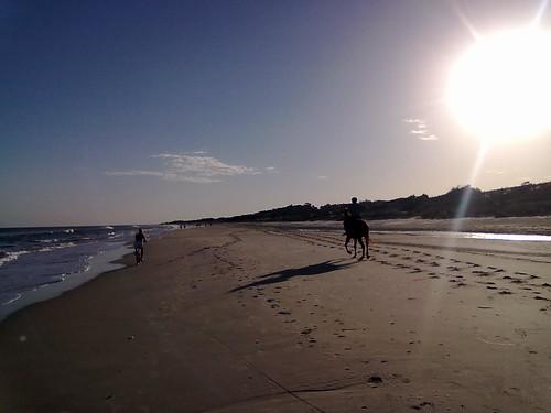 en bici y a caballo