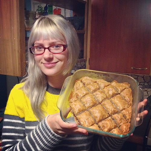 Baklava, Angel's first time making it. First time I tried it. Results are good.