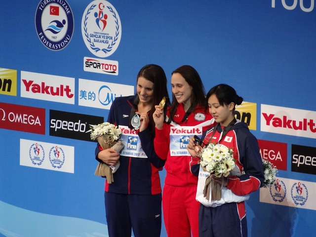 The Istanbul 2012 women's 200 breast medal podium
