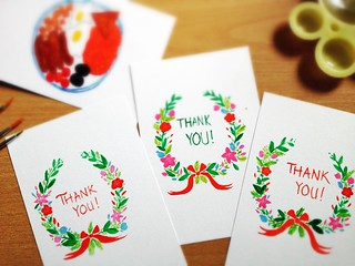 Hand-painted Water-colour Post-Christmas Thank You Cards