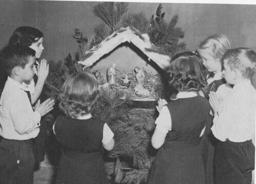 St. Cecilia School children at the classroom Nativity Scene 1950's