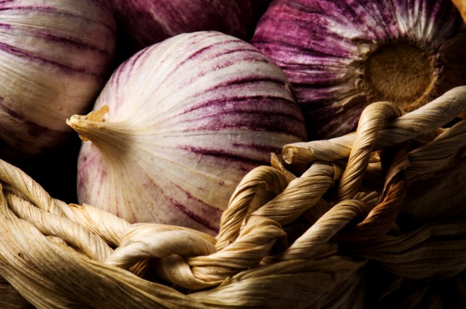 Garlic in basket