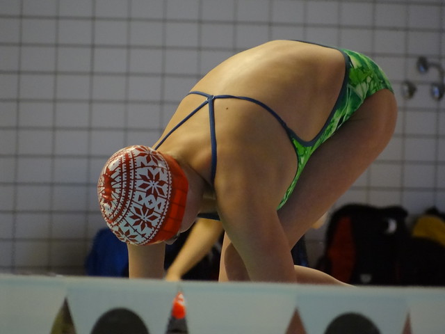 A Christmas-themed Swim Cap