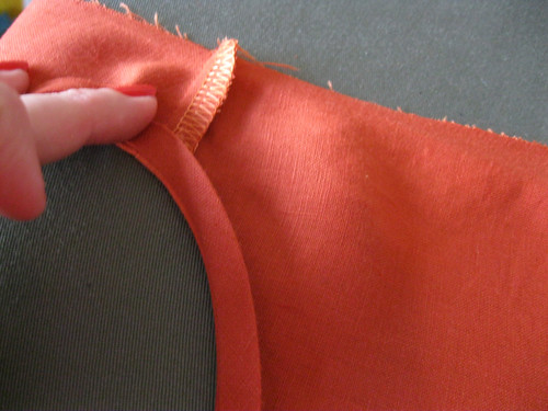 Lily dress in progress - neck bind attached, pressed to inside