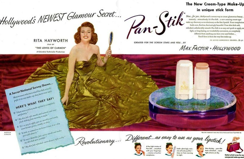 MAX FACTOR Pan Stik featuring Rita Hayworth 1948