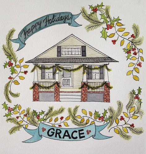 Grace-Family-House-Portrait-Happy-Holidays-Watercolor
