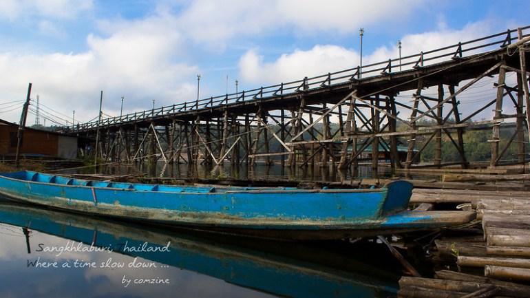 สะพานมอญจากใต้สะพาน - สังขละบุรี