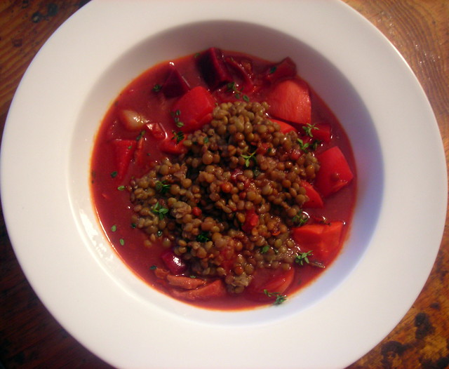 Beet bourguignon, Umbrian lentils
