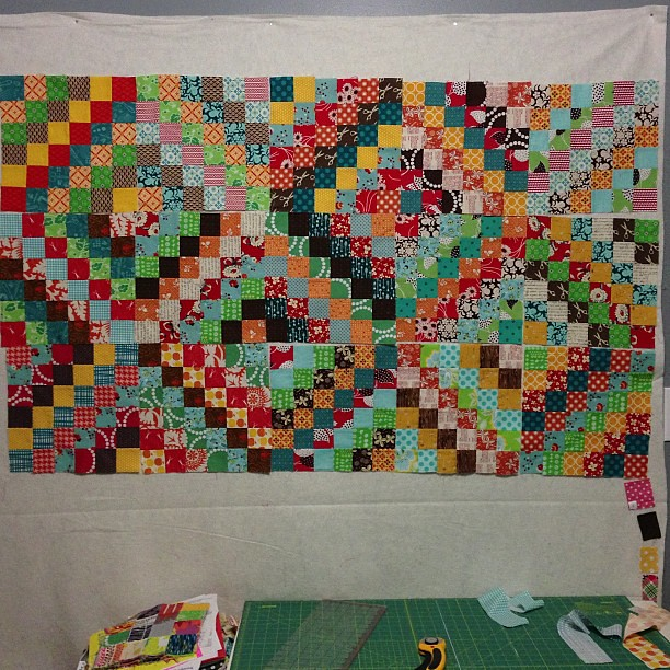 Scrappy Trip Around the World Quilt