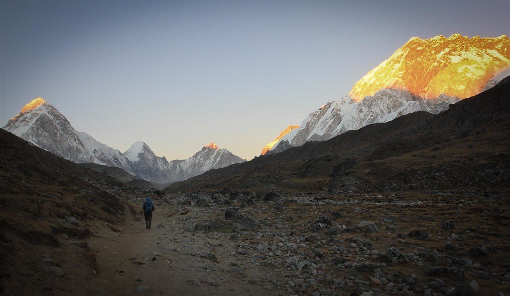 Towards Everest Base Camp. Pumori (7161m) left and Nuptse (7861m)-wall at dusk on an exhausting traverse from Gokyo to Lobuche in 1 day.