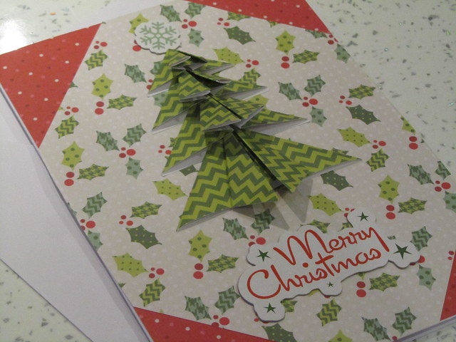 Homemade origami Christmas cards