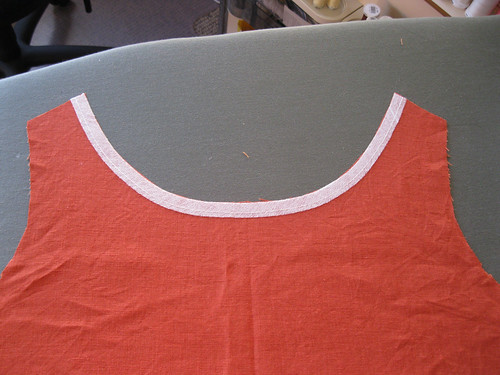 Lily dress in progress - front neckline stabilisation