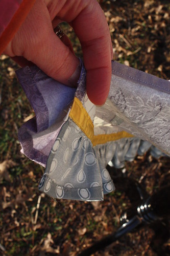 Grey and Yellow Seam Bindings for the ruffles