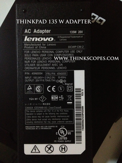 ThinkPad 135 Watts Adapter Information