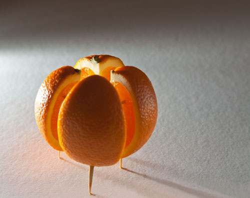The final position ready to photograph the orange obscures as many of the toothpicks as possible.