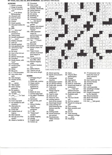 NYT Sunday Puzzle - December 23, 2012