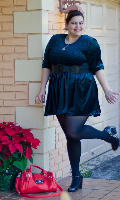 Vintage velvet dress, lulus bag, black tights, blowfish shoes
