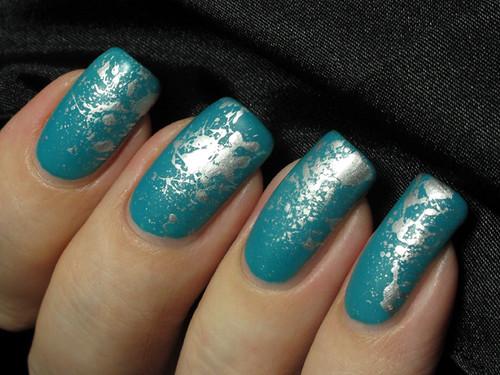 O.P.I. Fly & Barry M Silver Foil Splatter nails