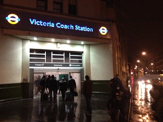 Victoria Coach Station in the sleet