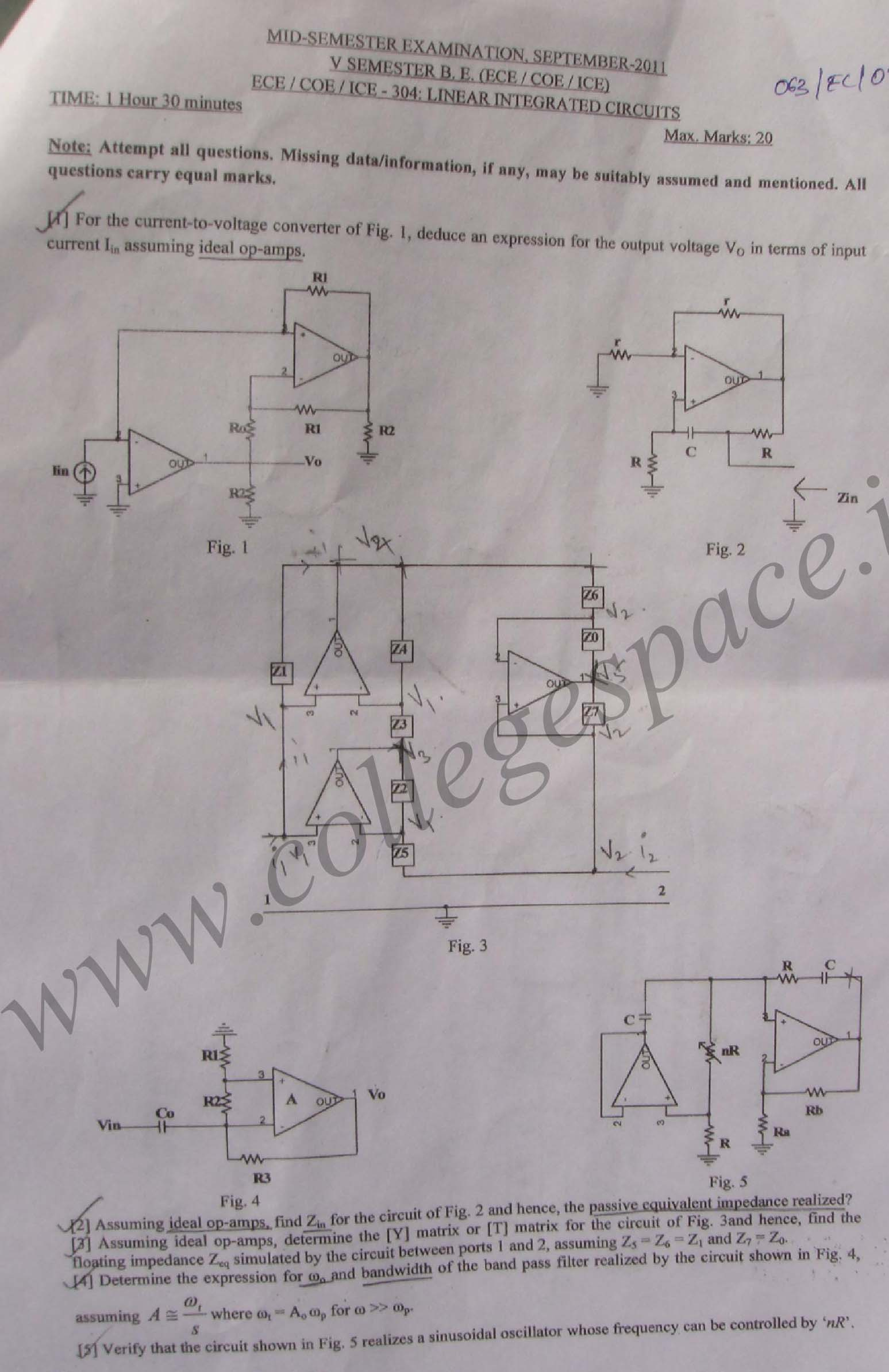 NSIT: Question Papers 2011 – 5 Semester - Mid Sem - ECE-COE-ICE-304