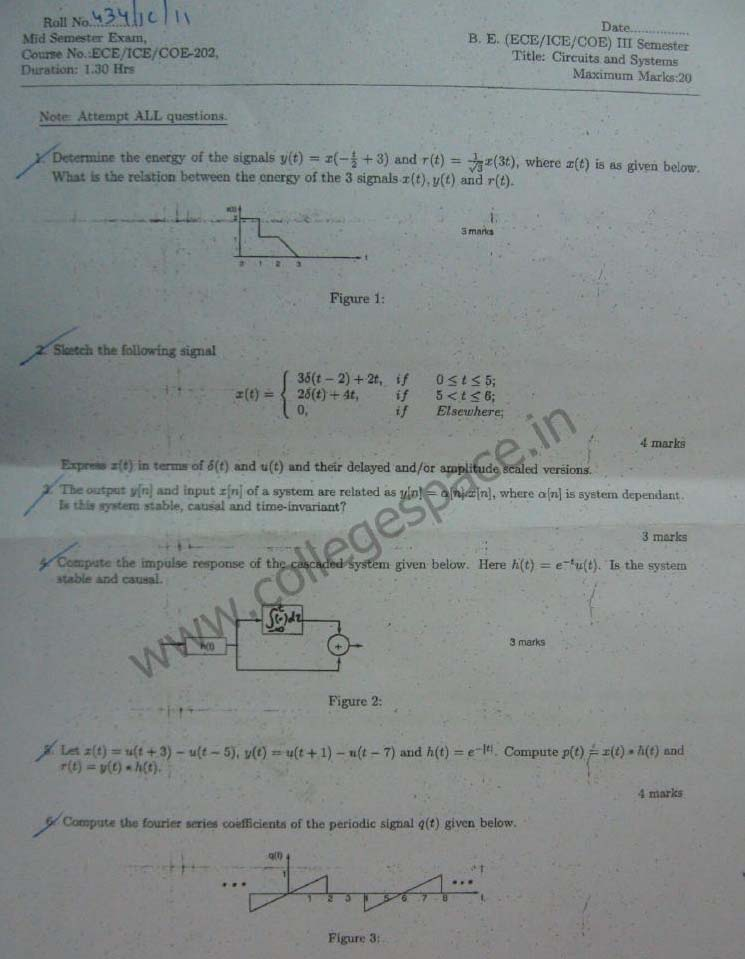NSIT Question Papers 2012 – 3 Semester - Mid Sem - ECE-ICE-COE-202