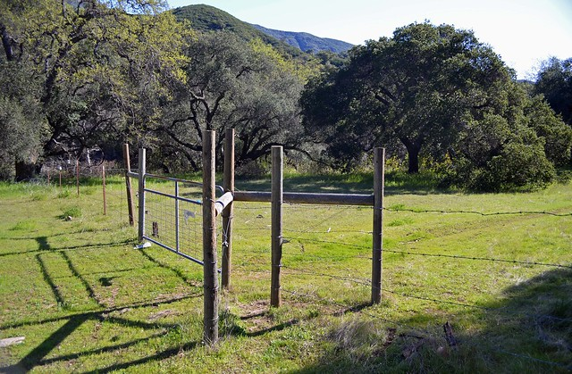 Pass through the hiker stile to start on the Trout Creek Trail.