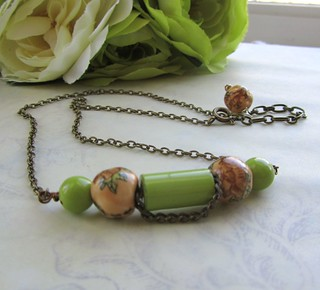 spring floral recycled bead necklace