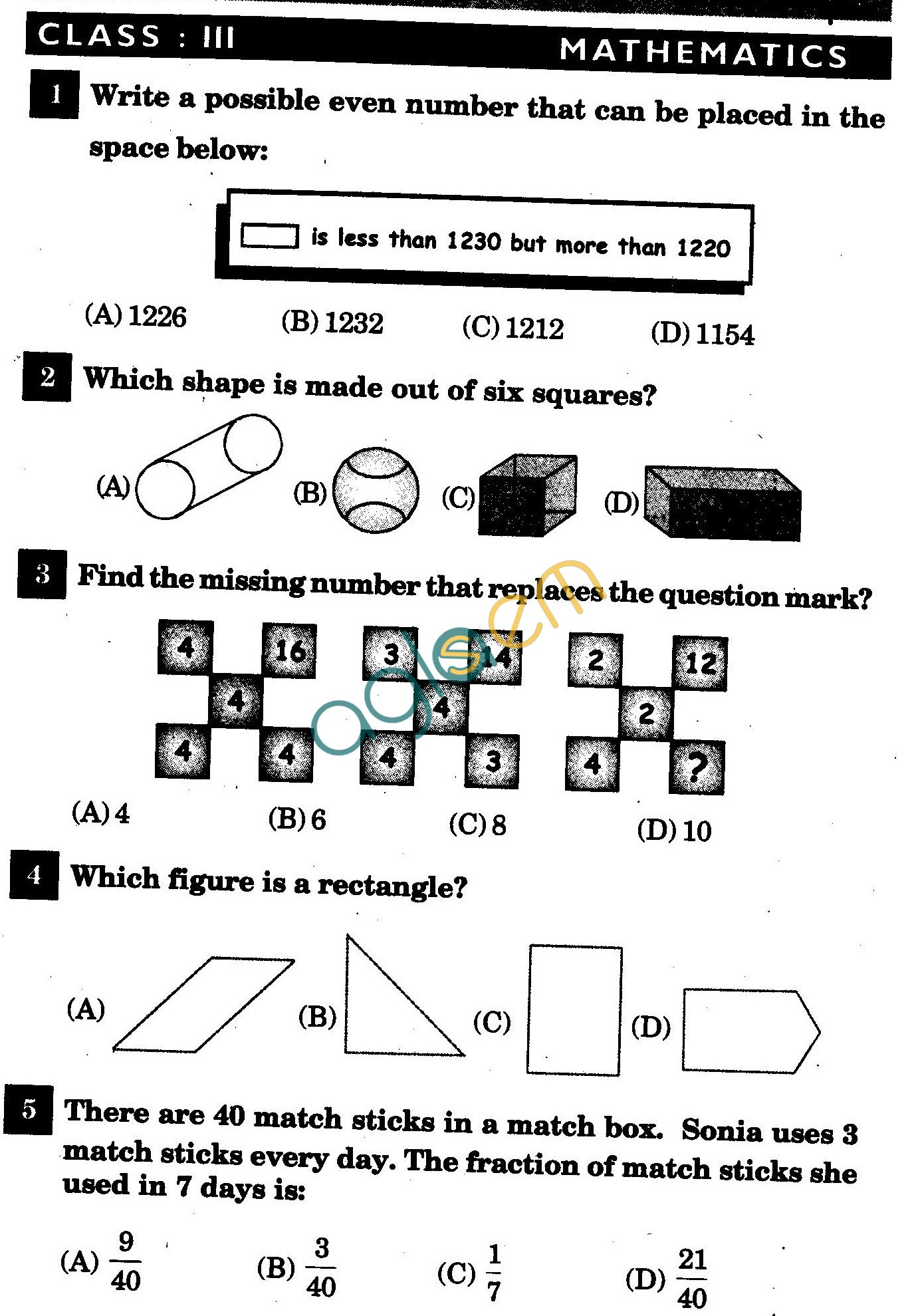 NSTSE 2011 Solved Question Paper for Class III
