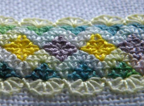 Pinapple Stitch mat WIP detail