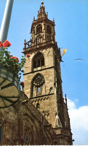 postcard - bolzano - campanile chiesa prepositurale di maria assunta