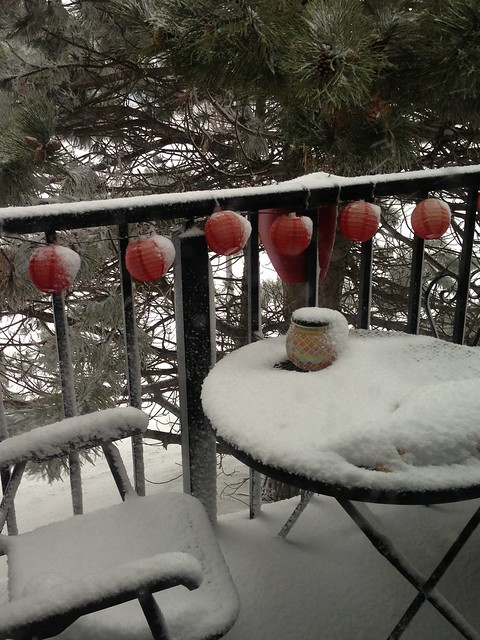 Snow on balcony