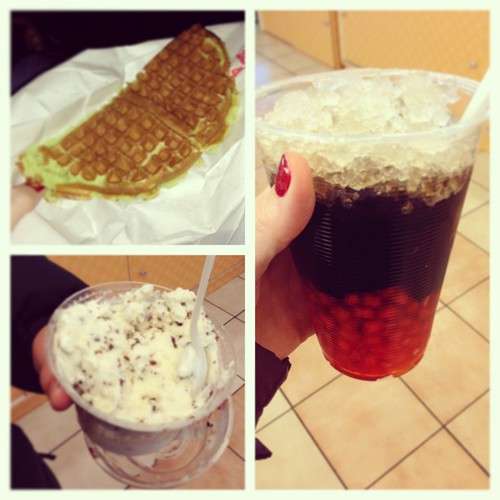 photo of pandan waffles and grass jelly drink and toasted coconut icecream