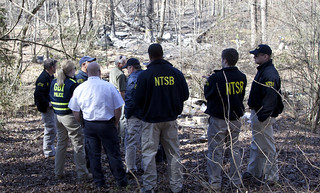 NTSB investigators with local authorities in Thomson, GA