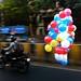 Balloon man going to work