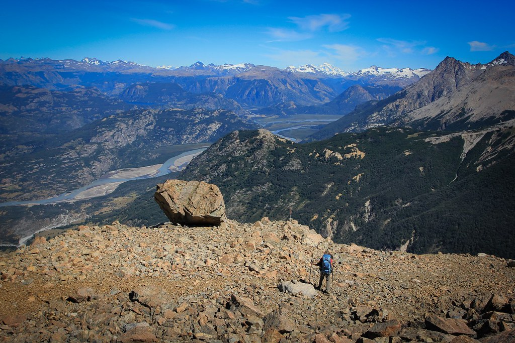 The Rio Ibanez basin as seen descending from the Cerro Castillo ridge. Aysen, Patagonia, Chile.